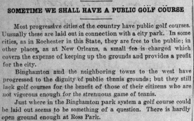 March 1922: First Mention of an Ely Park Public Golf Course in the City of Binghamton!