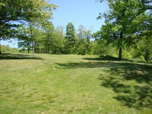 The ladies tee for the old reservoir hole can be seen west of No. 16 green.
