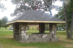 Stone Shack at Ely Park rebuilt in September 2014 by the City Parks Department.