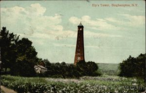 View of the original Ely Tower built in 1893 and demolished by a wind storm in 1908. It stood for 15 years and gave Binghamtonians a great view of their city and surrounding countryside.